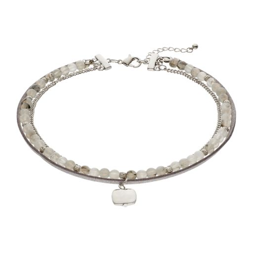 Hammered Charm Beaded Multi Strand Choker Necklace
