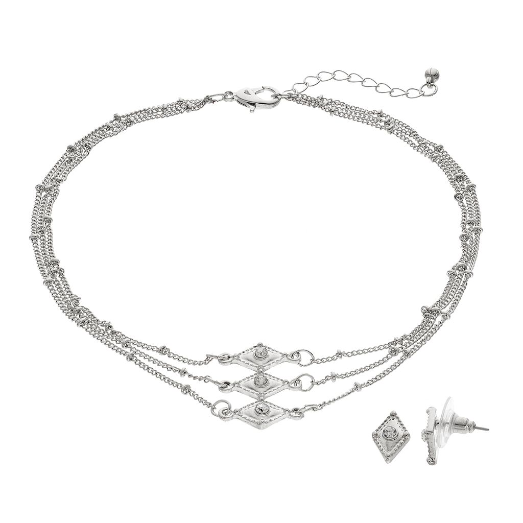 Rhombus Multi Strand Necklace & Stud Earring Set