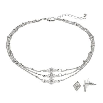 Rhombus Multi Strand Necklace & Stud Earring Set