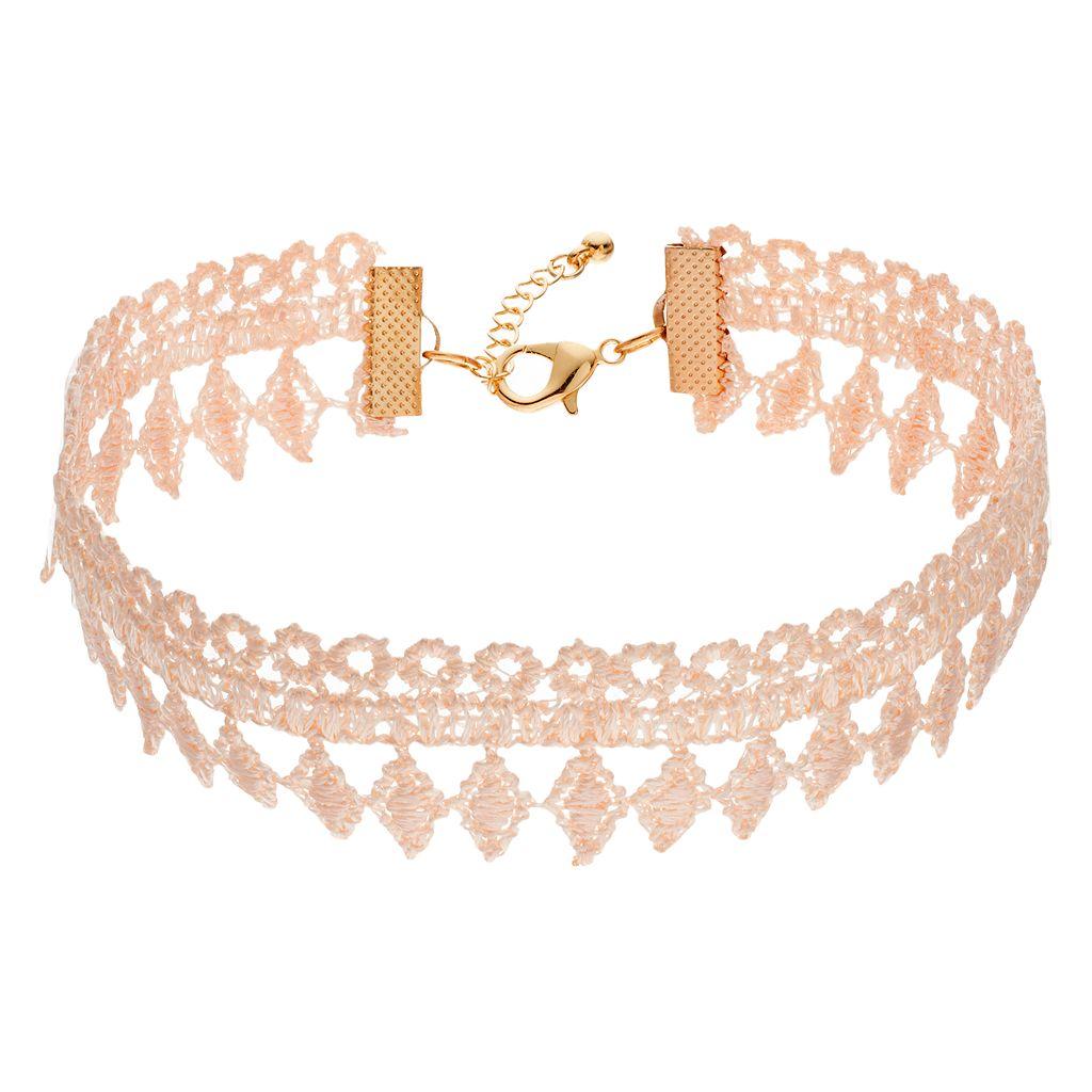 Pink Lace Choker Necklace