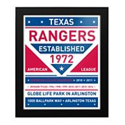 Texas Rangers Dual Tone Framed Wall Art