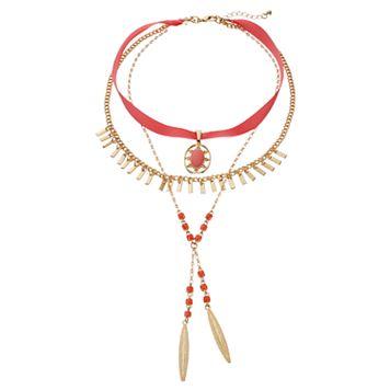 Peach Layered Fringe & Oval Pendant Choker Necklace