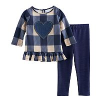 Toddler Girl Marmellata Classics Checked Ruffled Heart Top & Leggings Set