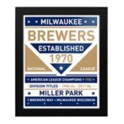 Milwaukee Brewers Dual Tone Framed Wall Art