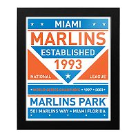 Miami Marlins Dual Tone Framed Wall Art