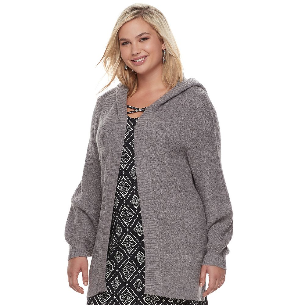Plus Size Mudd® Bishop Sleeve Hooded Cardigan