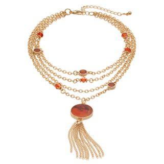 Peach Marbled Stone Tassel Multi Strand Choker Necklace