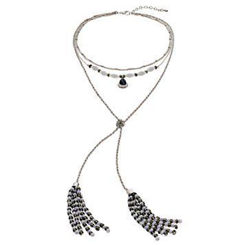 Seed Bead Tassel Layered Multi Strand Necklace