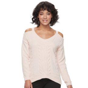 Juniors' Candie's® Velvet Cold-Shoulder Sweater