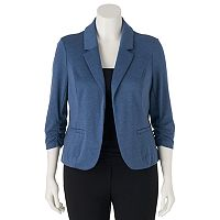 Juniors' Plus Size Candie's® Ruched Lace Knit Blazer