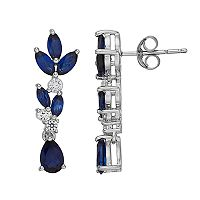 Sterling Silver Lab-Created Blue & White Sapphire Drop Earrings