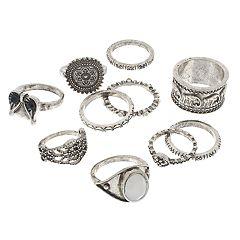 Mudd® Silver Tone Elephant, Flower & Owl Ring Set