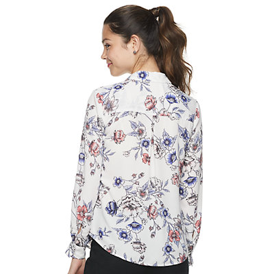 Juniors' Candie's® Roll-Tab Blouse