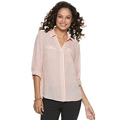 4e85ddba2e2f64 Juniors  Candie s® Piped Roll-Tab Blouse