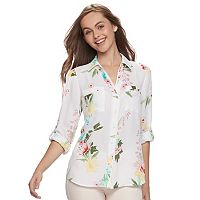Juniors' Candie's® Piped Roll-Tab Blouse