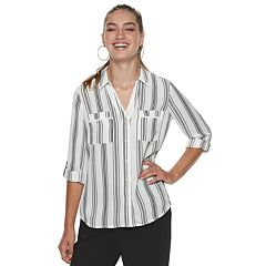 1b4330c96 Juniors' Candie's® Piped Roll-Tab Blouse