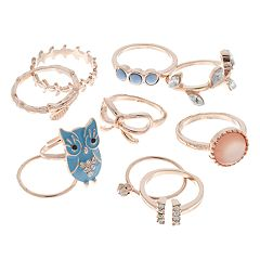 Mudd® Rose Gold Tone Owl, Bow & Feather Ring Set