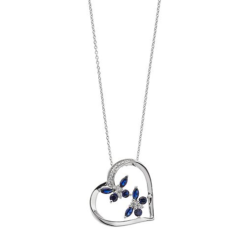Sterling Silver Lab-Created Sapphire & Diamond Accent Butterfly Heart Pendant
