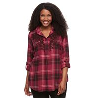Plus Size SONOMA Goods for Life™ Embroidered Plaid Flannel Top