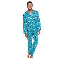 Men's Jammies For Your Families Penguin Pattern Button-Front Top & Bottoms Pajama Set