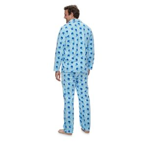 Men's Jammies For Your Families Hanukkah Polar Bear Button-Front Top & Bottoms Pajama Set