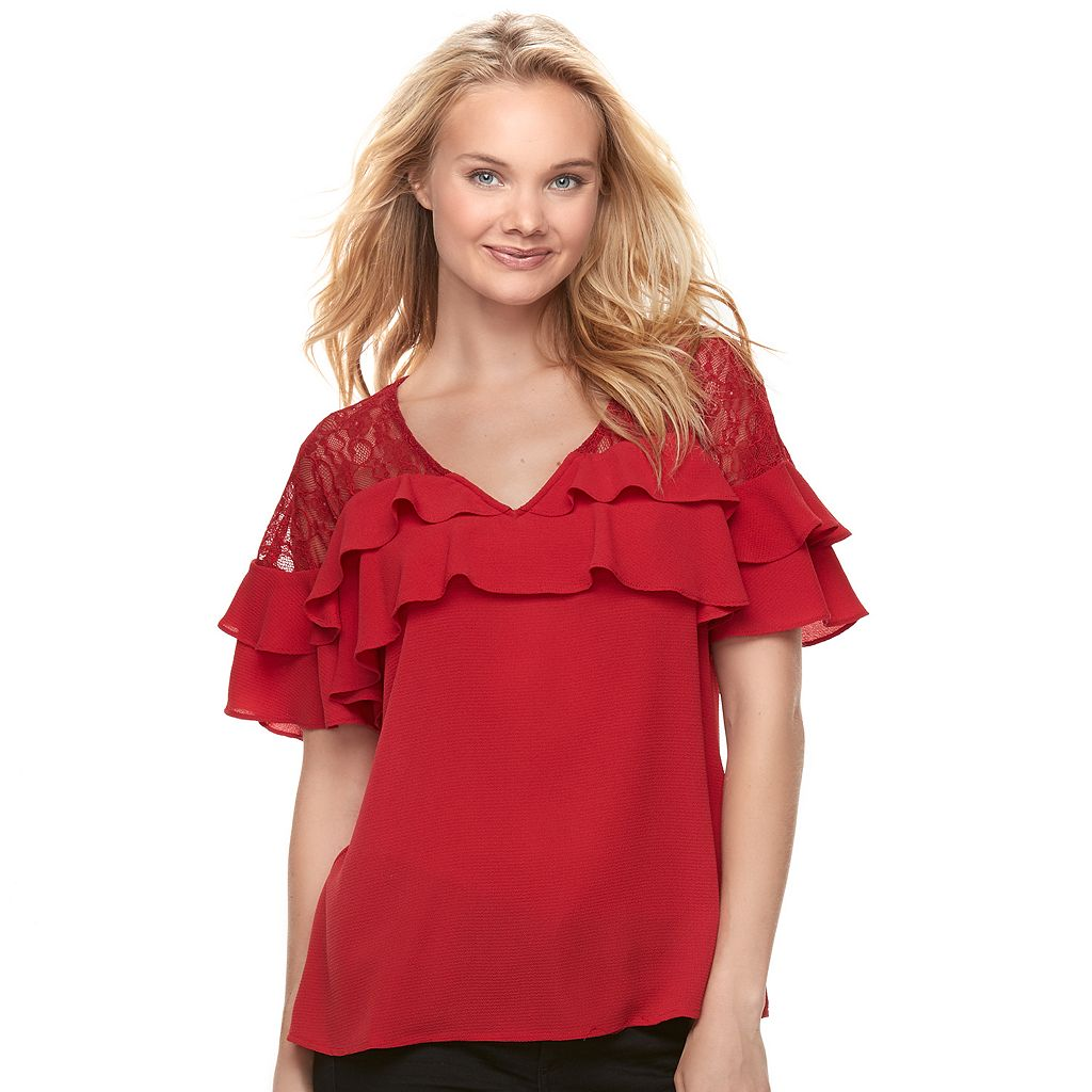 Juniors' Candie's® Ruffled Lace Top
