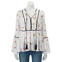 Women's LC Lauren Conrad Floral Velvet Trim Peasant Top