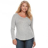 Juniors' Plus Size SO® Solid Henley Top