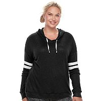 Juniors' Plus Size SO® Striped Sleeve Hoodie
