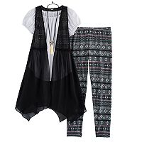 Girls 7-16 Knitworks Handkerchief Hem Vest, Peasant Top & Leggings Set with Necklace