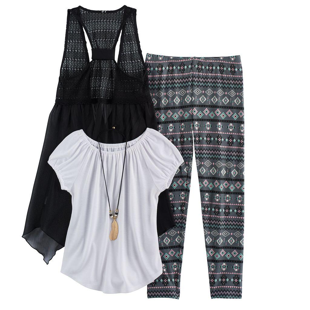 Girls 7-16 Knitworks Handkerchief Hem Vest, Peasant Top & Leggings Set with Necklace