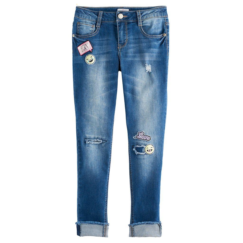 Girls 7-16 & Plus Size SO® Patch Applique Girlfriend Jeans