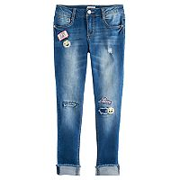 Girls 7-16 & Plus Size SO® Patch Applique Girlfriend Jeans