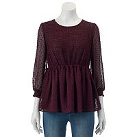 Women's LC Lauren Conrad Swiss Dot Peplum Top
