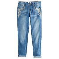 Girls 7-16 & Plus Size SO® Rhinestone Embroidered Girlfriend Jeans