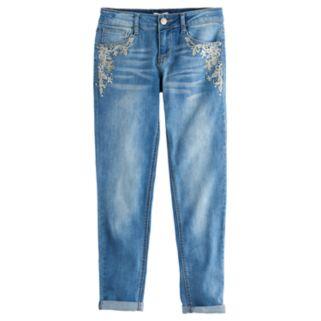 Girls 7-16 & Plus Size SO® Rhinestone Embroidered Girlfriend Jeans