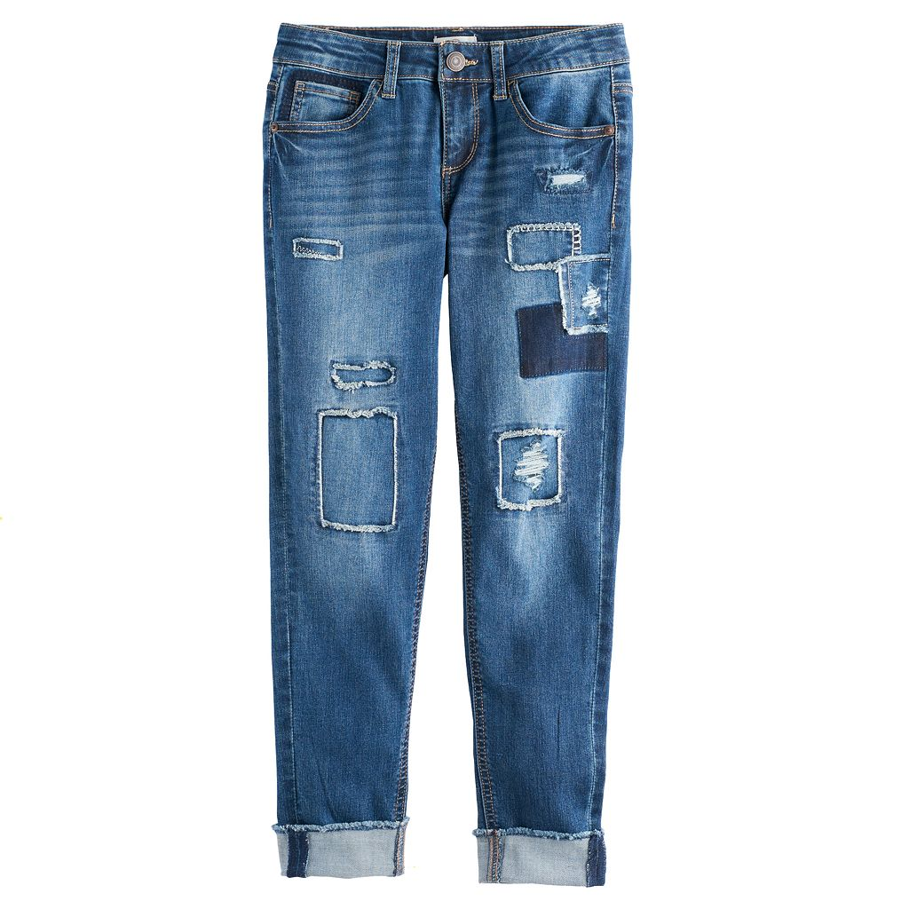 Girls 7-16 & Plus Size SO® Frayed Patch Girlfriend Jeans