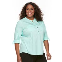 Plus Size Croft & Barrow® Roll-Tab Henley Top