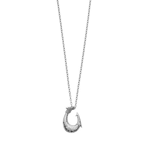FOCUS FOR MEN Stainless Steel Textured Hook Pendant Necklace