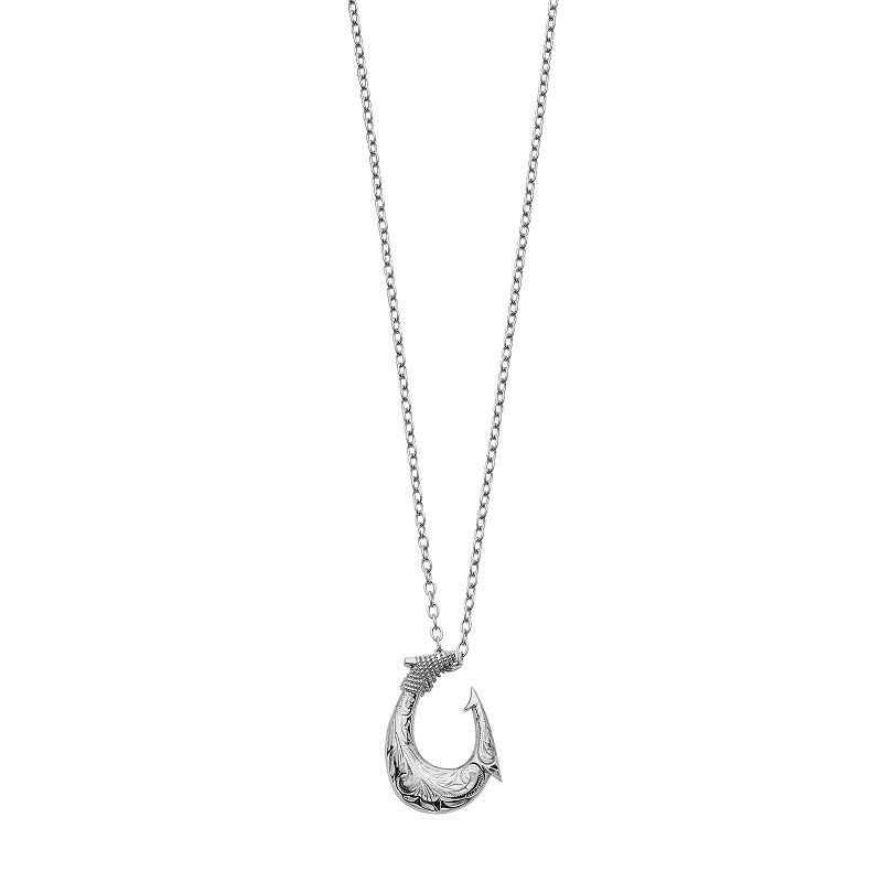 Focus FOR MEN Stainless Steel Textured Hook Pendant Necklace, Silver Designed with an edgy hook pendant decorated with textured detailing, this men's necklace makes a bold fashion statement. A percentage of all Focus FOR MEN jewelry sales will be donated to the American Cancer Society.Watch the product video here.Pendant Details Pendant dimensions: 1.25 in. x 0.75 in. Chain length: 22 in. Chain type: curb Clasp: spring-ring Metal: stainless steel Size: One Size. Color: Silver. Gender: Male. Age Group: Adult.