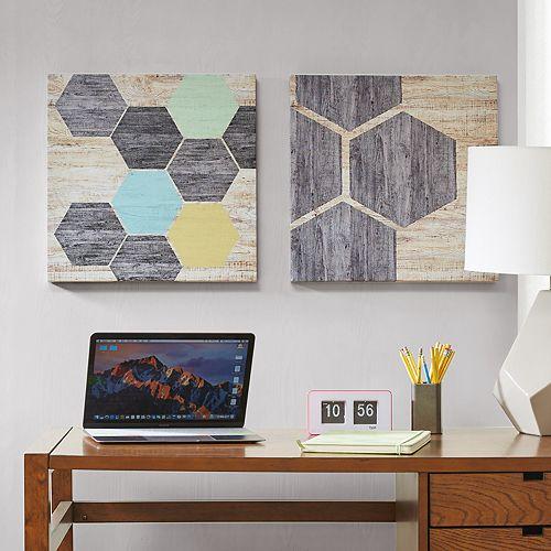 Intelligent Design Hexagon Puzzle Canvas Wall Art 2-piece Set