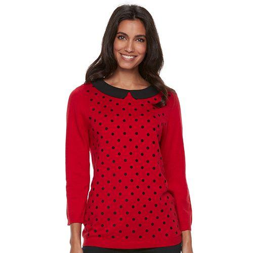 Women's ELLE™ Polka-Dot Crewneck Sweater