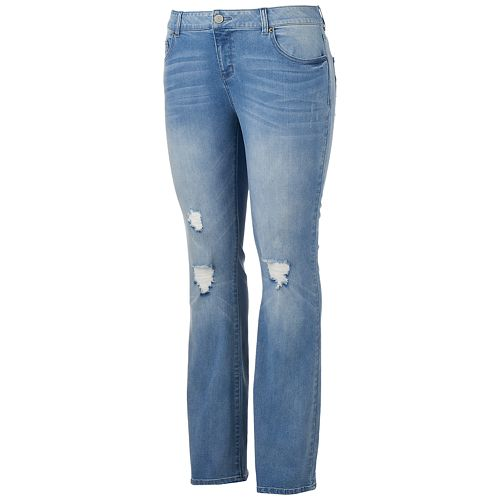Juniors' Plus Size SO® Destructed Bootcut Jeans