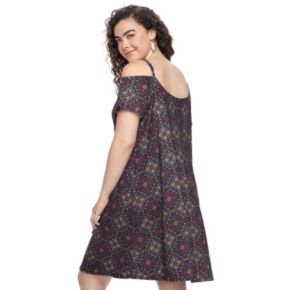 Juniors' Plus Size Mudd® Off-the-Shoulder Strappy Fit & Flare Dress