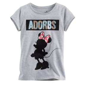 """Disney's Minnie Mouse Girls 4-7 """"Adorbs"""" Glitter Tee by Jumping Beans®"""