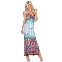 Women's White Mark Printed Side Slit Maxi Dress
