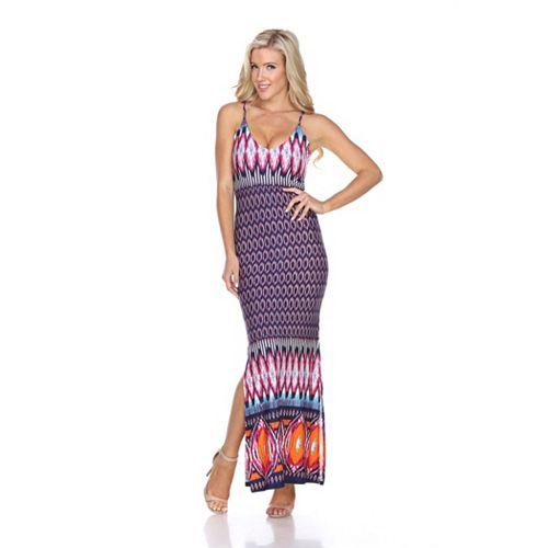 Women's White Mark Printed Side Slit Maxi Dress