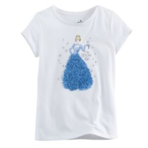 """Disney's Cinderella Toddler Girl """"If The Shoe Fits"""" Glitter Tee by Jumping Beans®"""