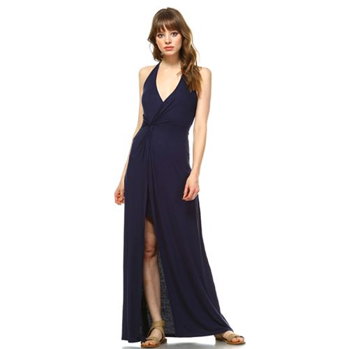 Women's White Mark Split-Front Overlay Maxi Dress