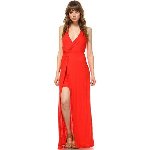 Women's White Mark Split-Front Overlay Maxi Dress